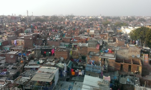 Looking over the rooftops of Bhumihin camp, Delhi